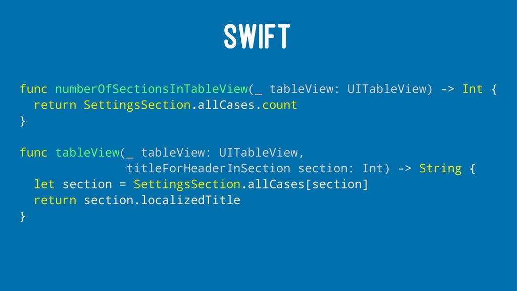 SWIFT func numberOfSectionsInTableView(_ tableV...