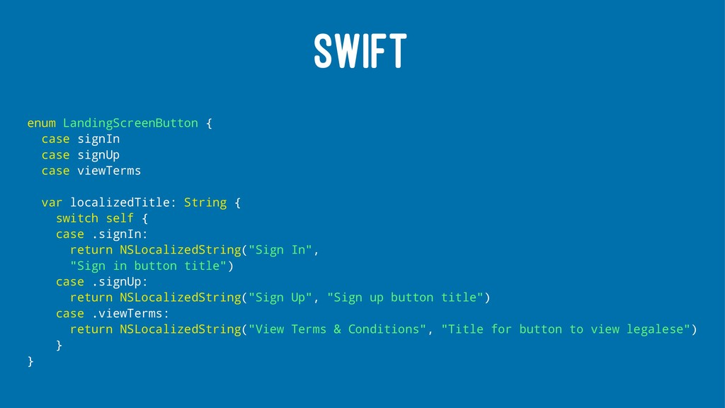 SWIFT enum LandingScreenButton { case signIn ca...