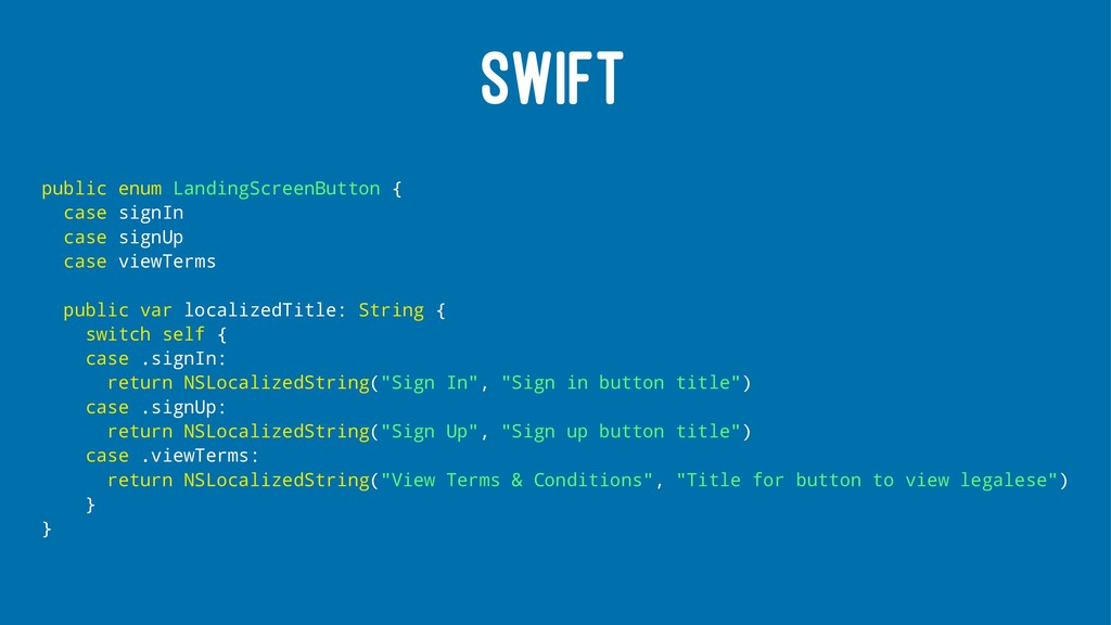 SWIFT public enum LandingScreenButton { case si...