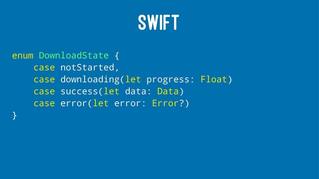 SWIFT enum DownloadState { case notStarted, cas...