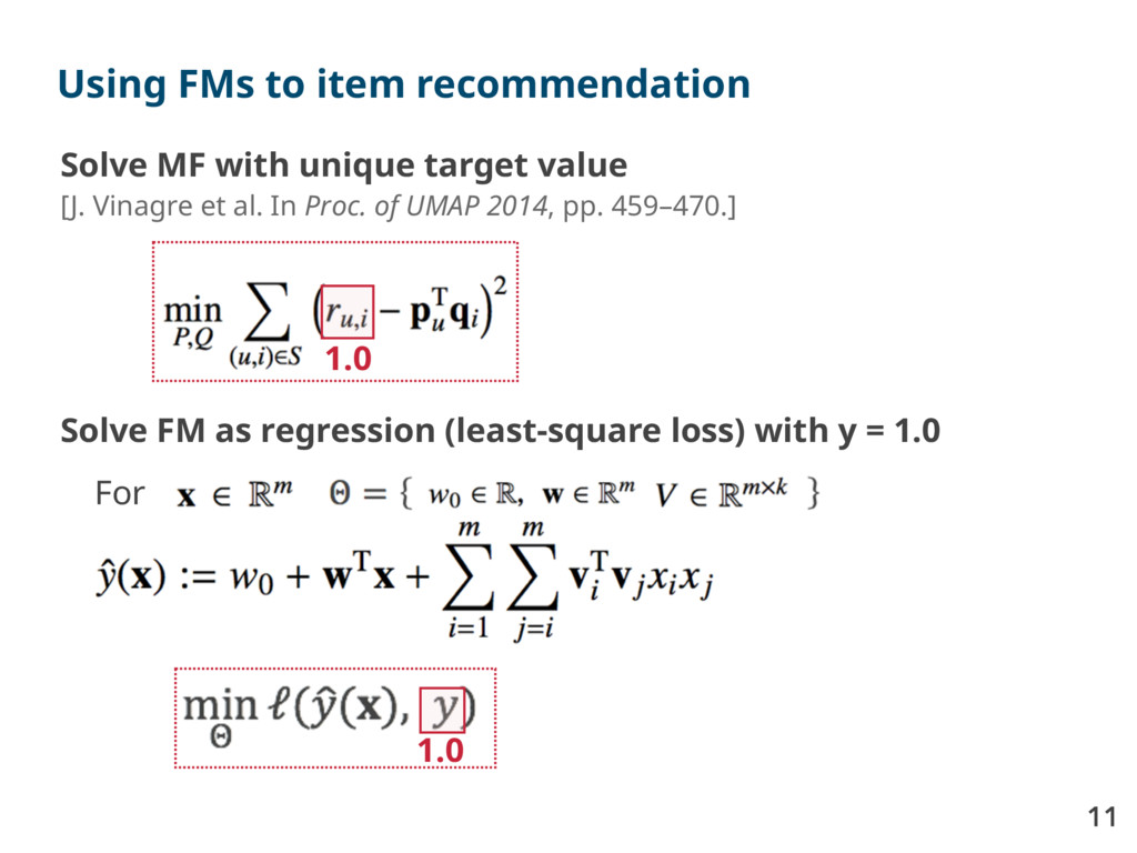 11 Using FMs to item recommendation Solve MF wi...
