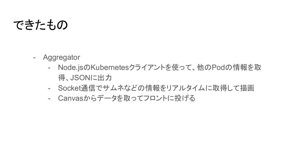 できたもの - Aggregator - Node.jsのKubernetesクライアントを使...