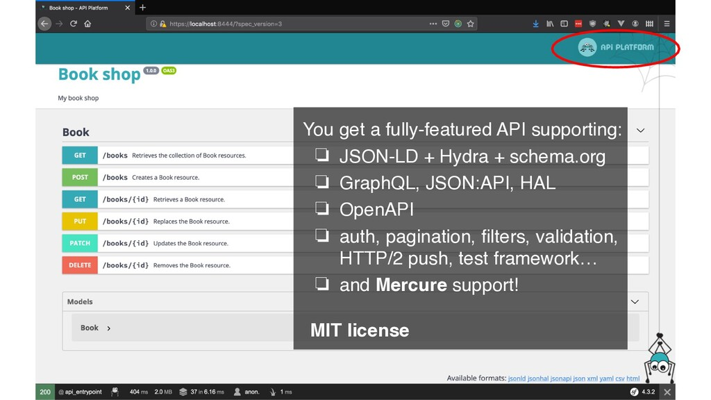 You get a fully-featured API supporting: ❏ JSON...