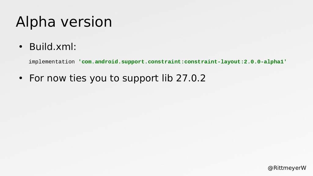 Alpha version ● Build.xml: ● For now ties you t...