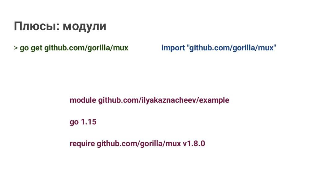 Плюсы: модули > go get github.com/gorilla/mux i...