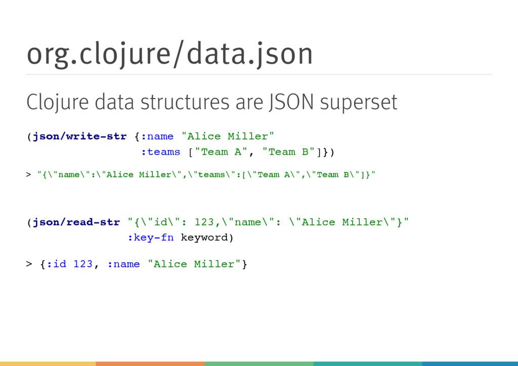 org.clojure/data.json Clojure data structures a...