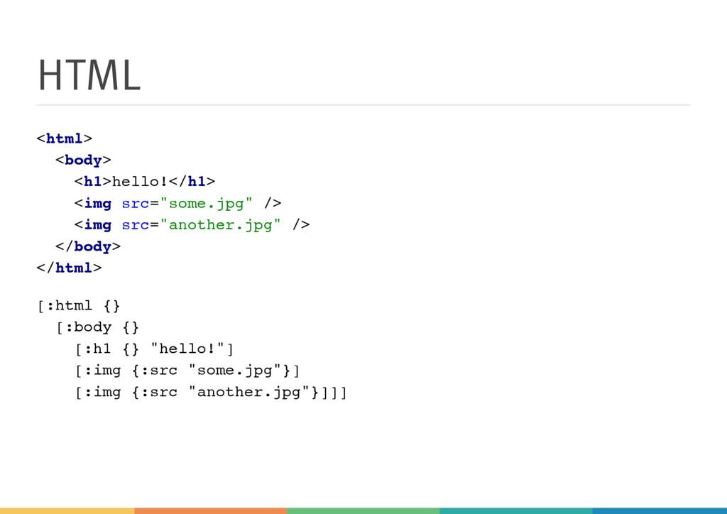 HTML < h t m l > < b o d y > < h 1 > h e l l o ...