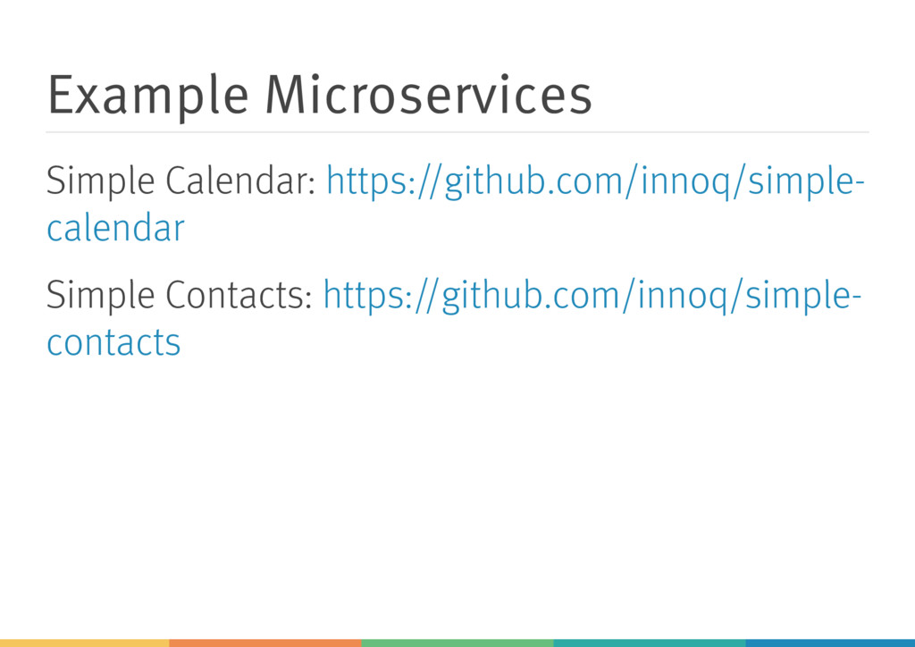 Example Microservices Simple Calendar: Simple C...
