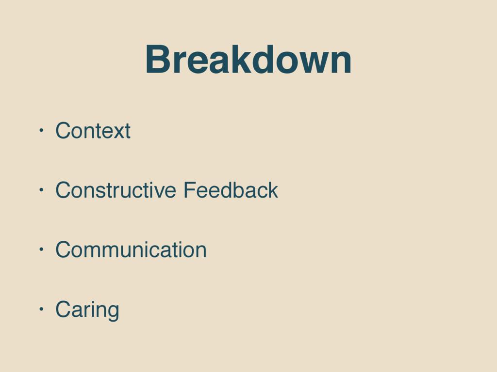 Breakdown • Context • Constructive Feedback • C...