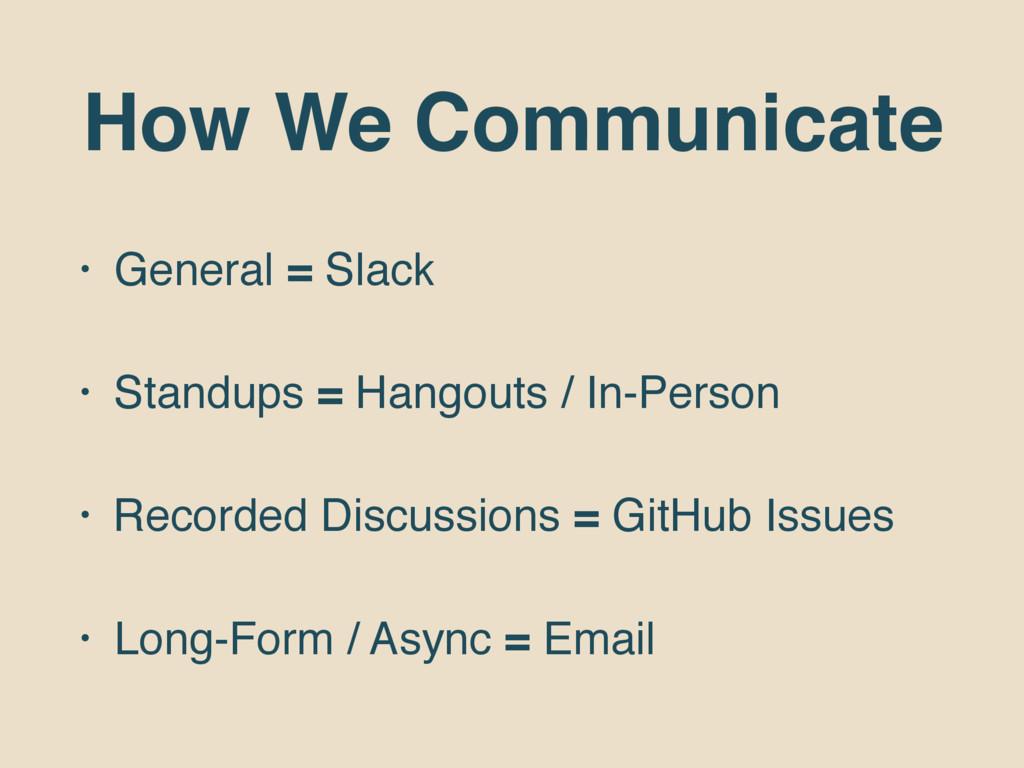 How We Communicate • General = Slack • Standups...