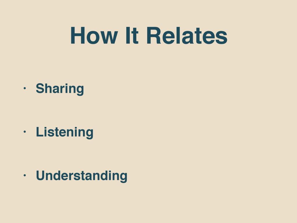 How It Relates • Sharing • Listening • Understa...