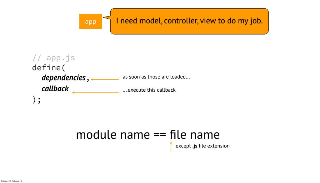 // app.js define( dependencies, callback ); mod...