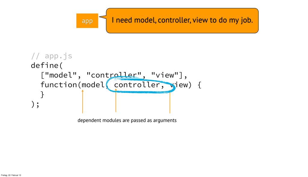 "// app.js define( [""model"", ""controller"", ""view..."