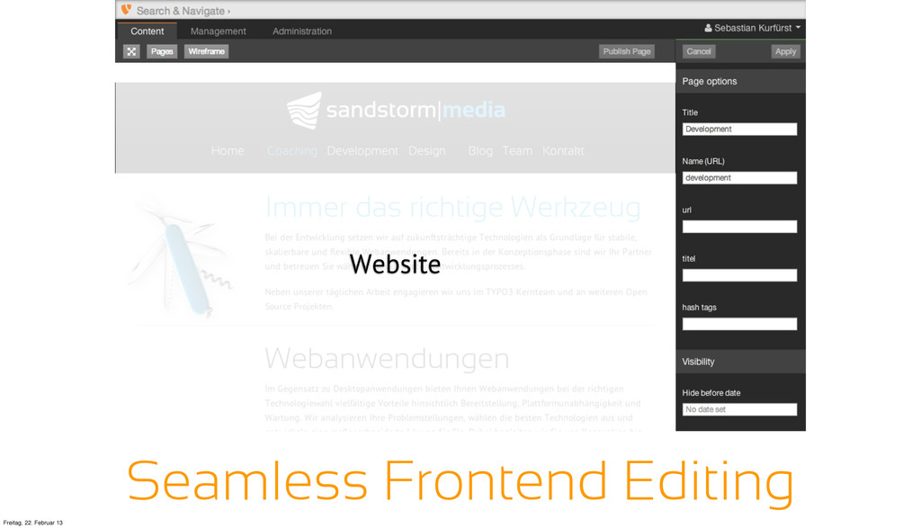Website Seamless Frontend Editing Freitag, 22. ...