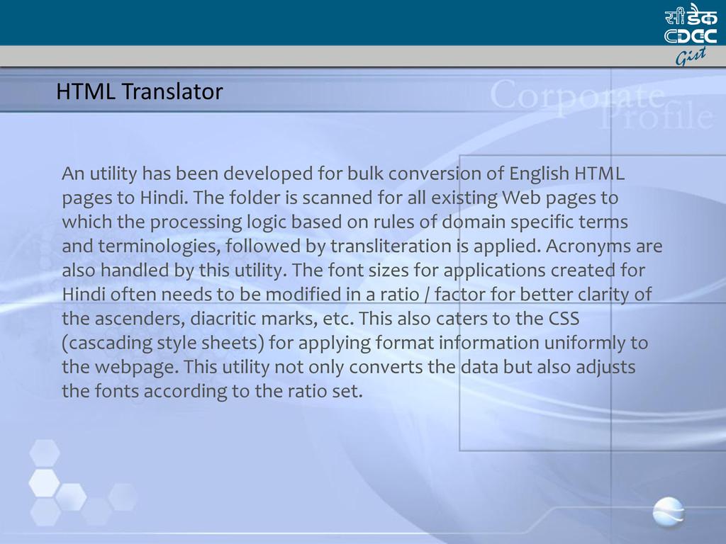 HTML Translator An utility has been developed f...