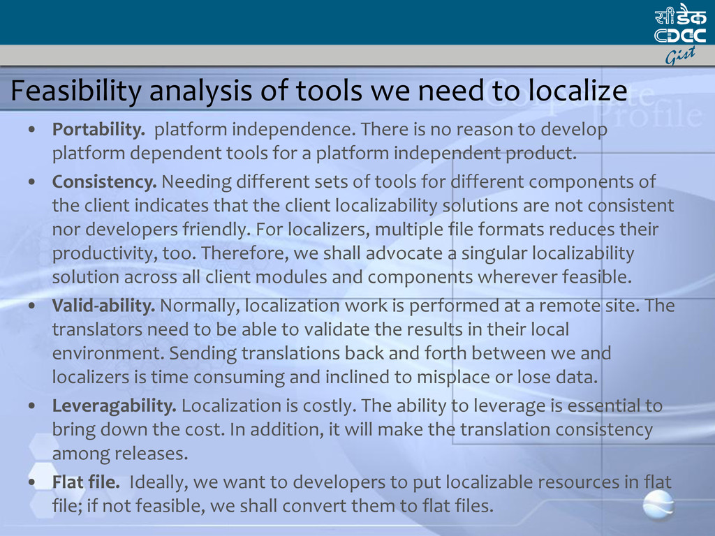 Feasibility analysis of tools we need to locali...