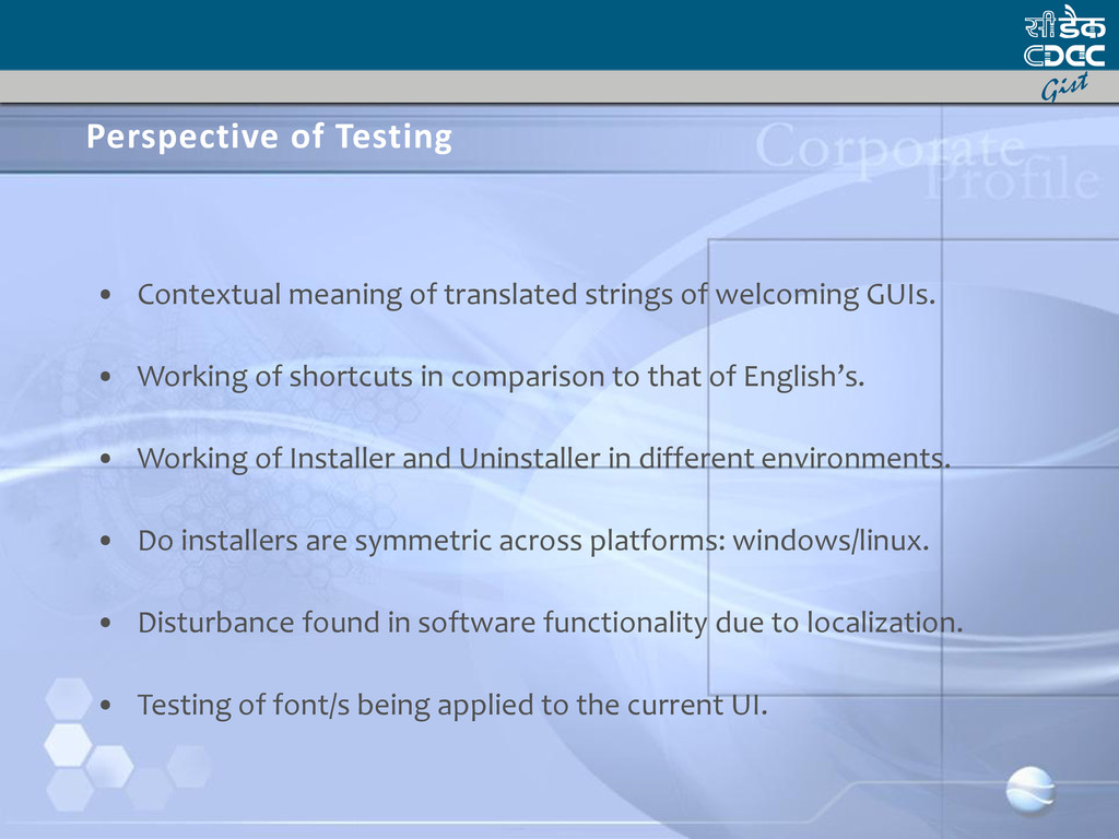 Perspective of Testing • Contextual meaning of ...