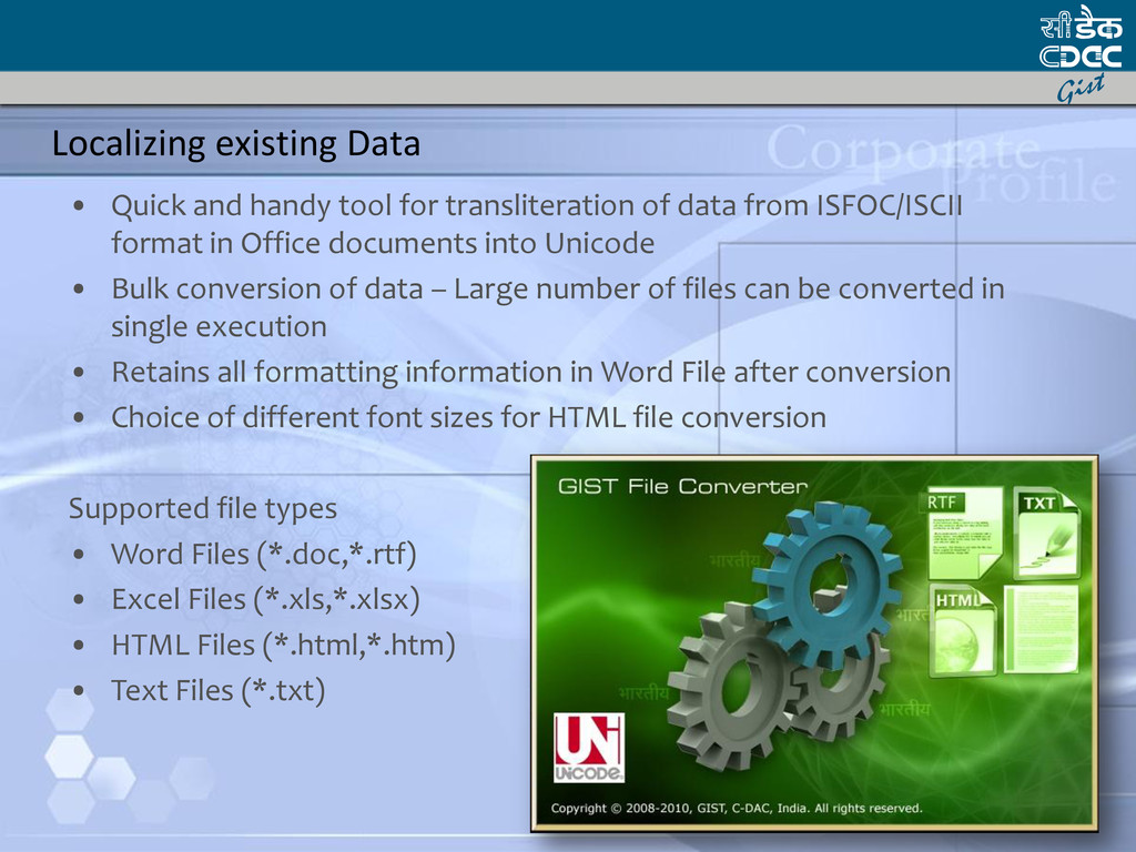 Localizing existing Data • Quick and handy tool...