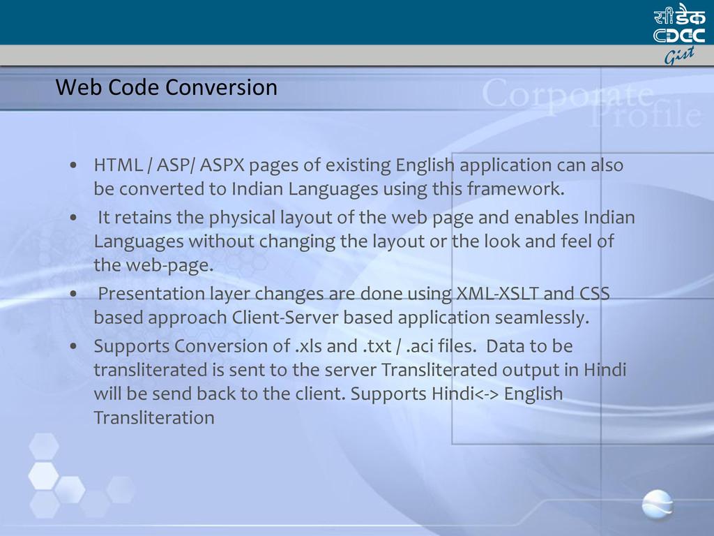 Web Code Conversion • HTML / ASP/ ASPX pages of...