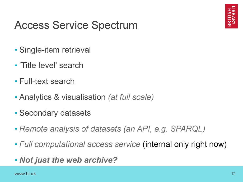 www.bl.uk 12 Access Service Spectrum • Single-i...