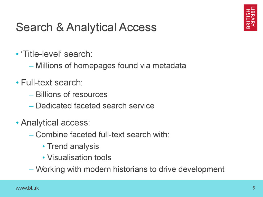 www.bl.uk 5 Search & Analytical Access • 'Title...