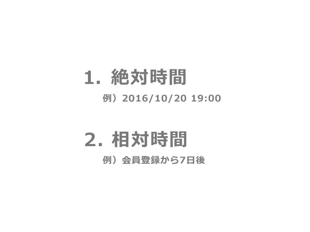 1. 絶対時間 例)会員登録から7⽇後 例)2016/10/20 19:00 2. 相対時間