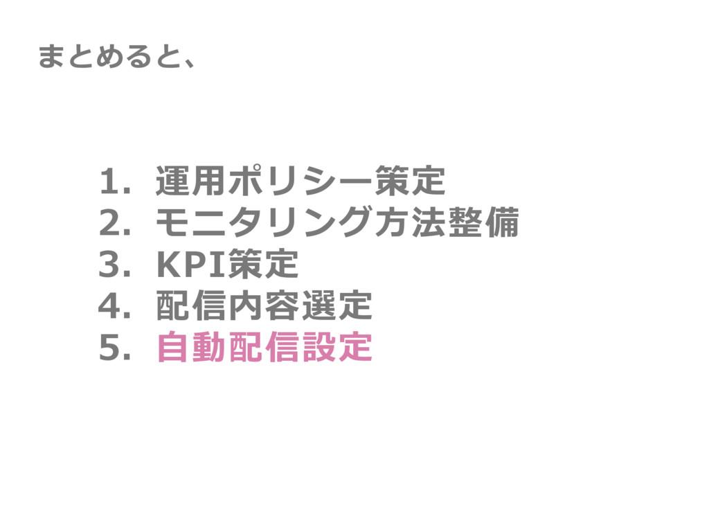 1. 運⽤ポリシー策定 2. モニタリング⽅法整備 3. KPI策定 4. 配信内容選定 5....