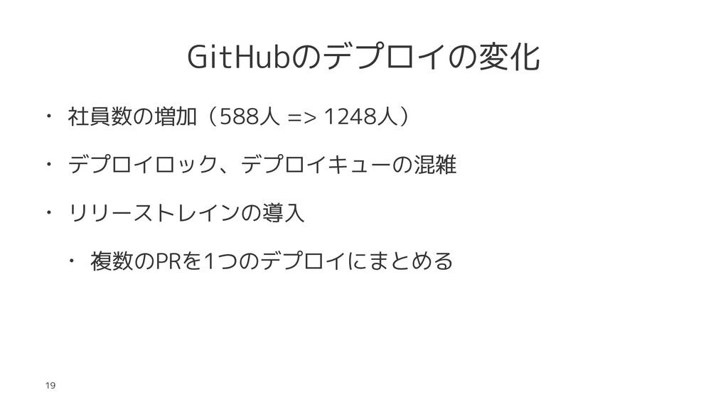GitHubのデプロイの変化 • 社員数の増加(588人 => 1248人) • デプロイロッ...