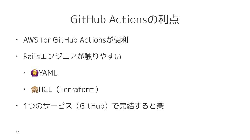 GitHub Actionsの利点 • AWS for GitHub Actionsが便利 •...