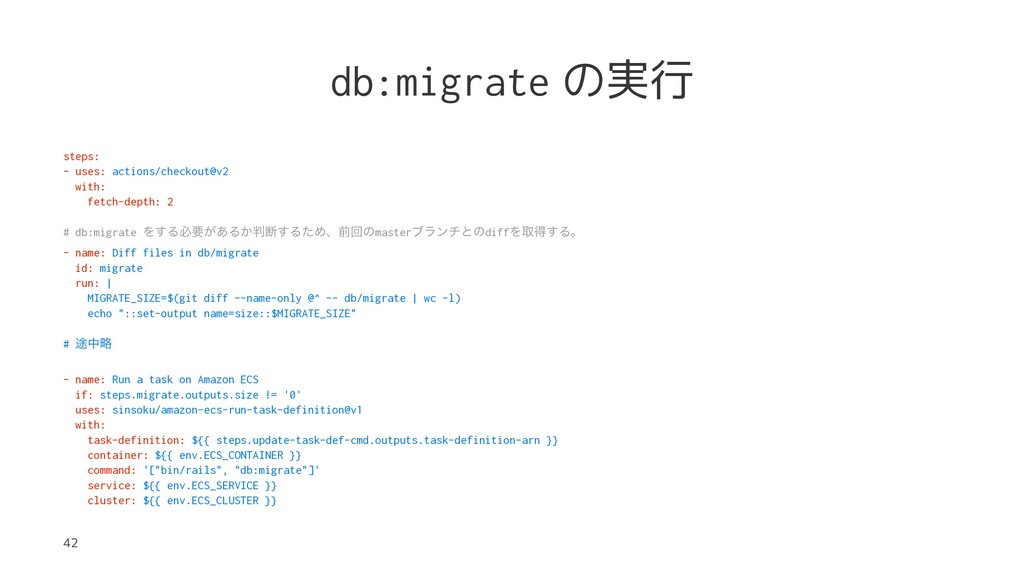 db:migrate の実行 steps: - uses: actions/checkout@...