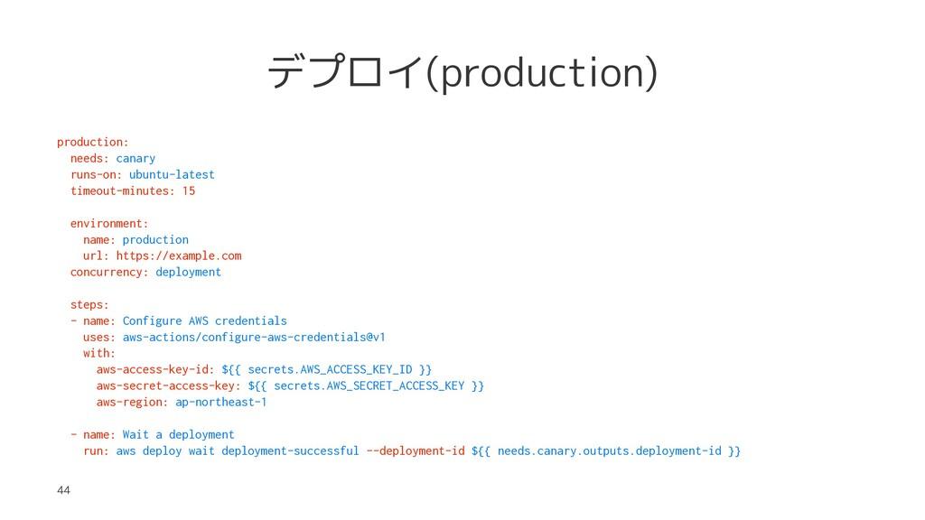デプロイ(production) production: needs: canary runs...