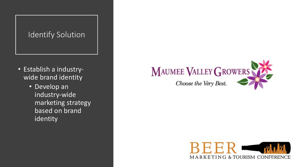 Identify Solution • Establish a industry- wide ...