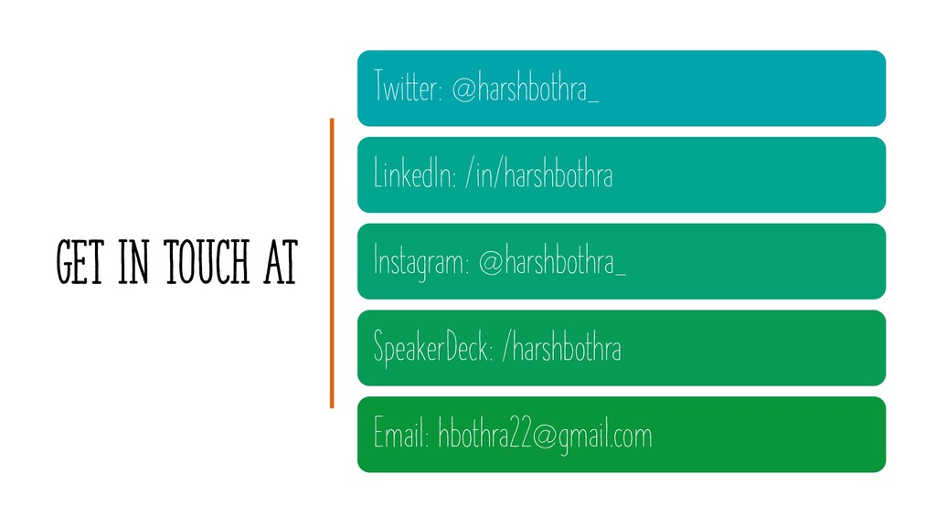GET IN TOUCH AT Twitter: @harshbothra_ LinkedIn...
