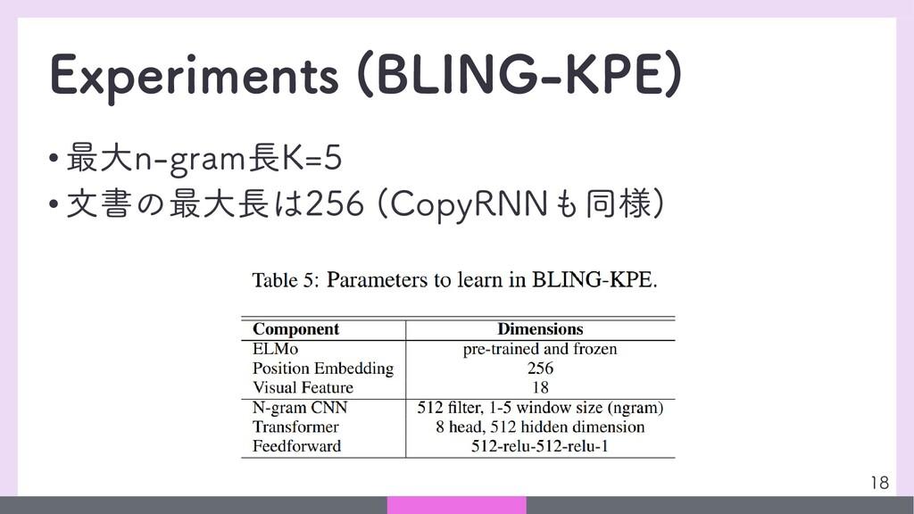 Experiments (BLING-KPE) • 最大n-gram長K=5 • 文書の最大長...