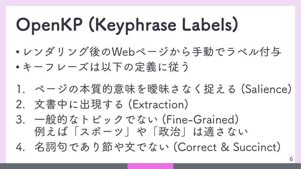 OpenKP (Keyphrase Labels) • レンダリング後のWebページから手動で...