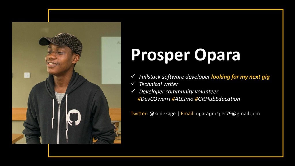 Prosper Opara ✓ Fullstack software developer lo...
