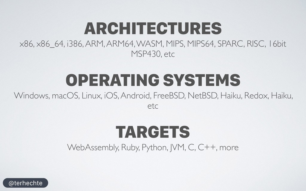 @terhechte ARCHITECTURES x86, x86_64, i386, ARM...