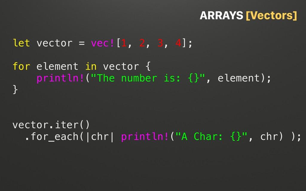 @terhechte let vector = vec![1, 2, 3, 4]; for e...