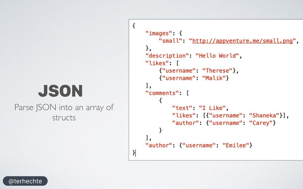@terhechte JSON Parse JSON into an array of str...