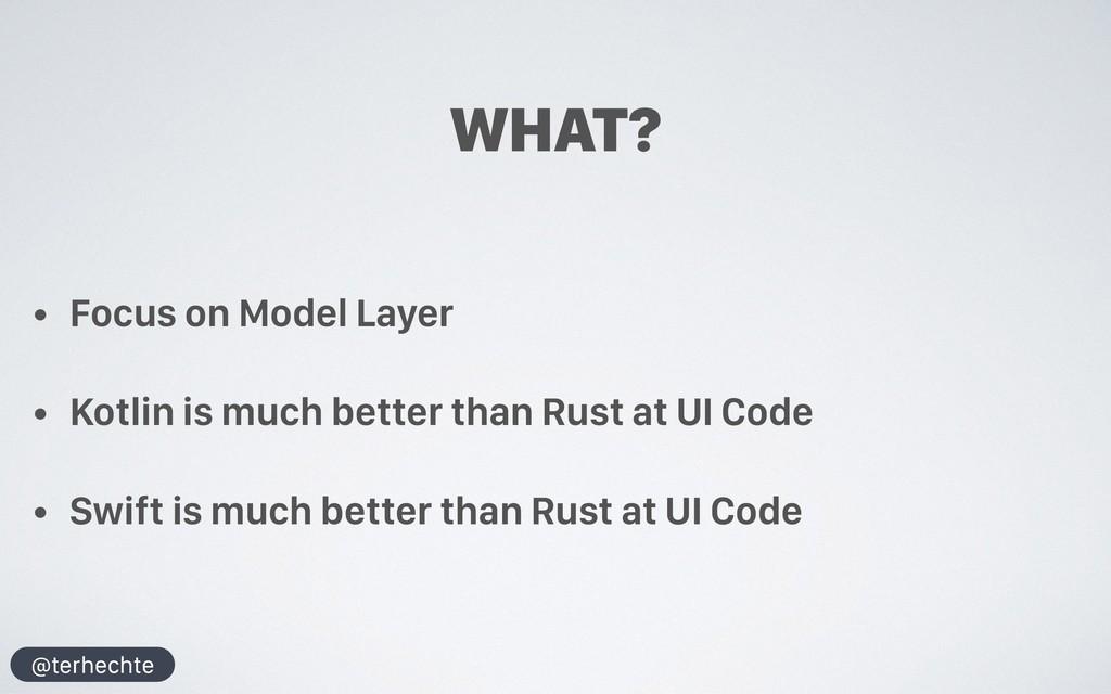 @terhechte WHAT? • Focus on Model Layer • Kotli...