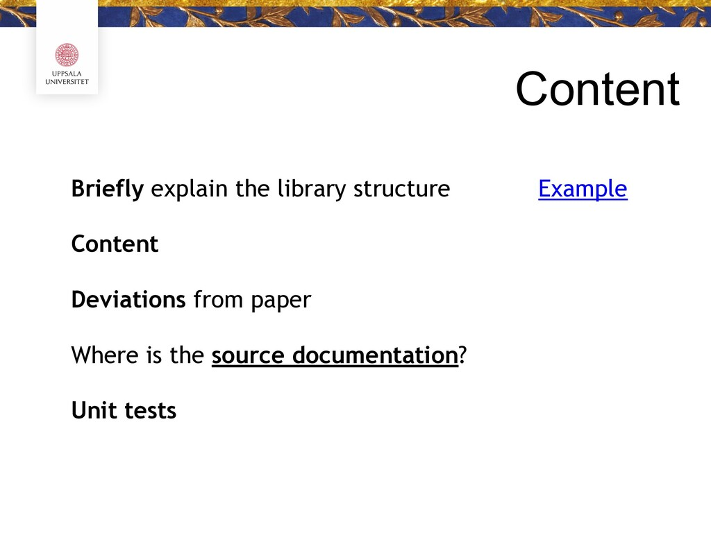 Content Briefly explain the library structure C...