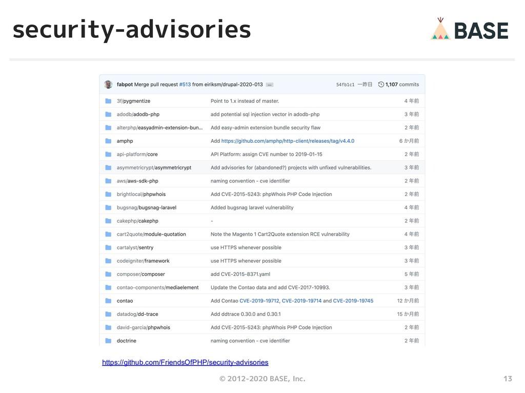 13 © 2012-2020 BASE, Inc. security-advisories h...
