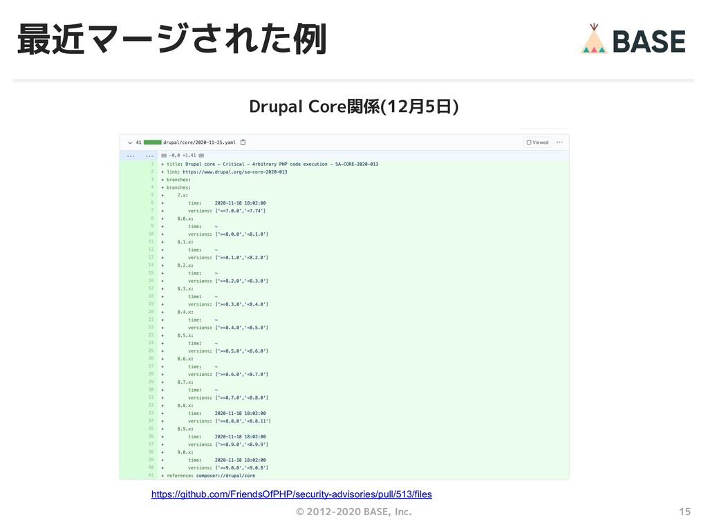 15 © 2012-2020 BASE, Inc. 最近マージされた例 Drupal Core...