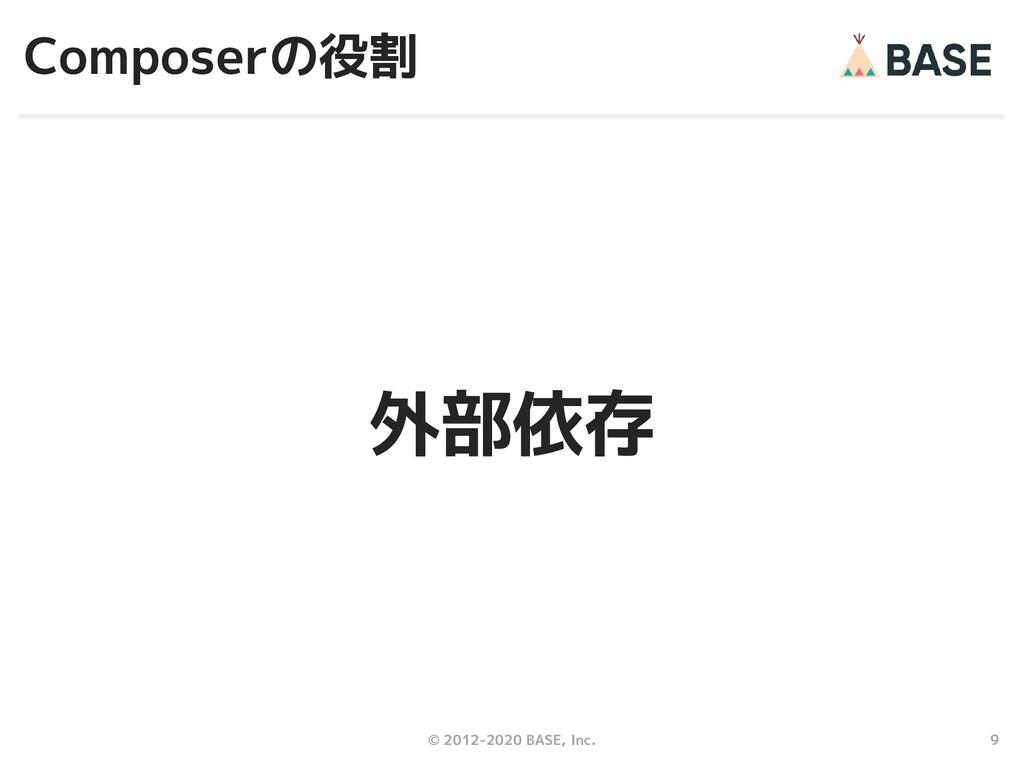 9 © 2012-2020 BASE, Inc. Composerの役割 外部依存