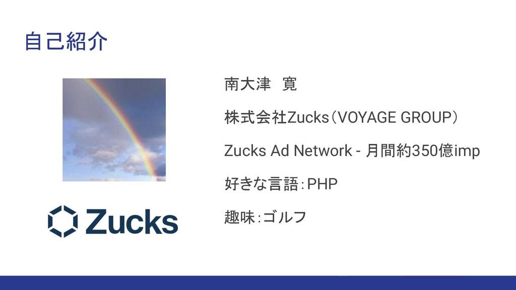 自己紹介 南大津 寛 株式会社Zucks(VOYAGE GROUP) Zucks Ad Net...