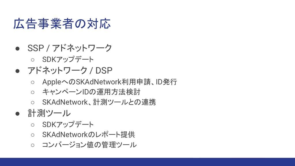 広告事業者の対応 ● SSP / アドネットワーク ○ SDKアップデート ● アドネットワー...