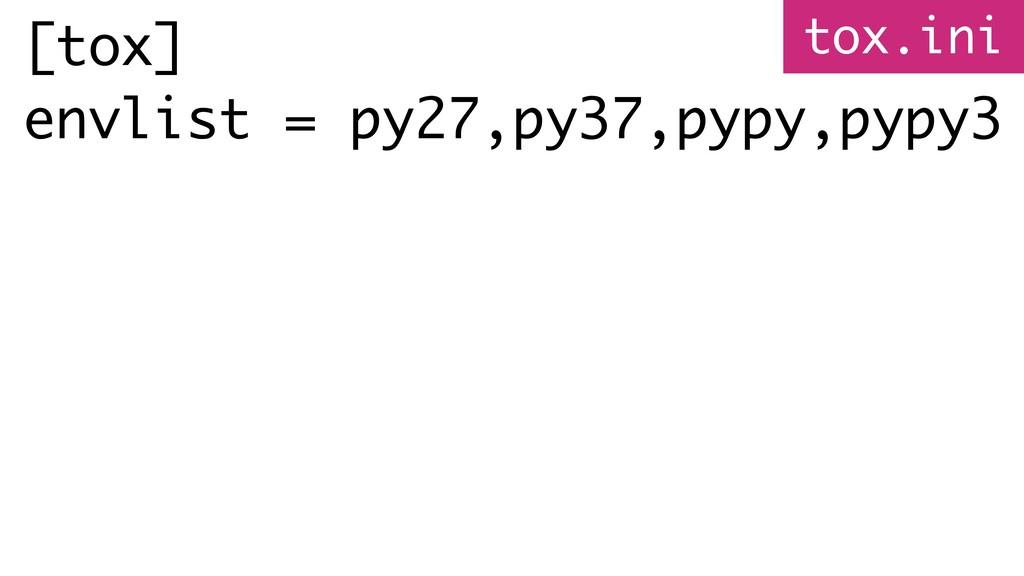 [tox] envlist = py27,py37,pypy,pypy3 tox.ini