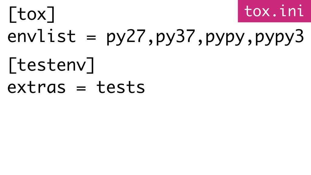 [tox] envlist = py27,py37,pypy,pypy3 [testenv] ...