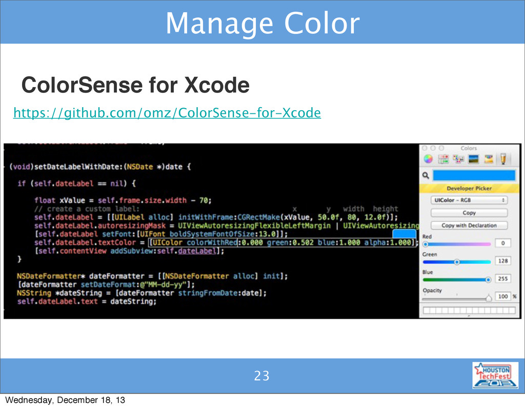 23 Manage Color 23 ColorSense for Xcode https:/...