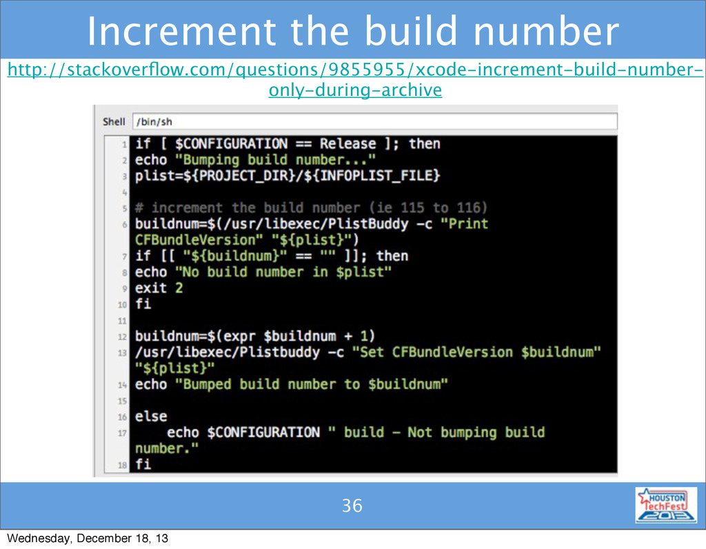 36 Increment the build number 36 http://stackov...